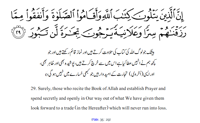 Reciters of the Quran will never run into loss.